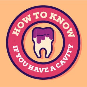Dental graphics image of tooth encircled with words, 'How to know if you have a cavity'.