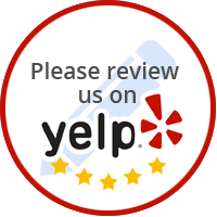 Circle around Yelp logo, five stars, and Read Our Reviews.