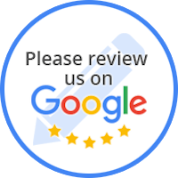 Circle around Google logo, five stars, and Read Our Reviews.