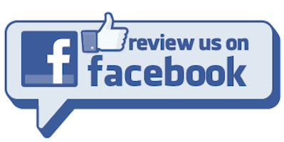 Blue Facebook logo, thumbs up icon, and Read Our Reviews.