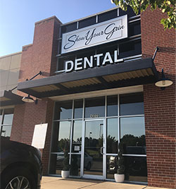 New exterior marquee sign for our dentist office that matches new logo
