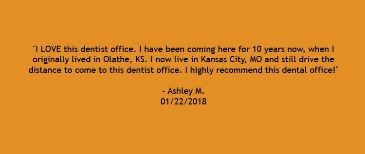 A review by patient Ashley M. saying, I love this dentist office. I highly recommend this dental office.